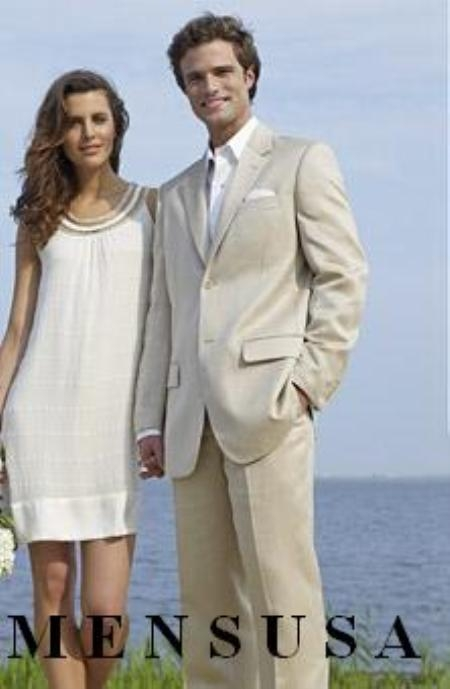 Mens Light Tan Two Button Style Linen Suit, act now only $159.00