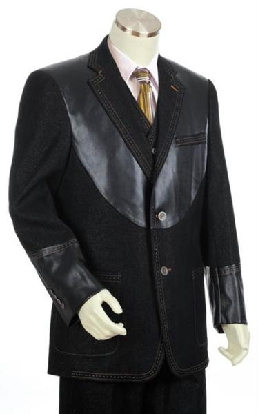 Mens Liquid Jet Black 2 Button Style 3pc Fashion Denim Cotton Fabric Suit, act now only $175.00