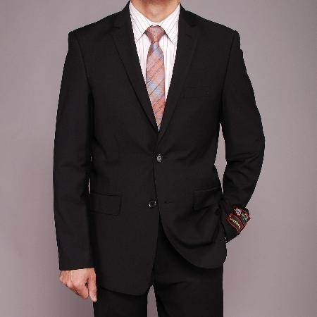 Mens Liquid Jet Black European Notch Lapel Suit, act now only $139.00