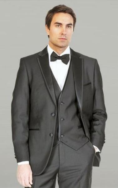 Mens Liquid Jet Black Framed Notch Lapel With Vest Microfiber Tuxedos, act now only $185.00