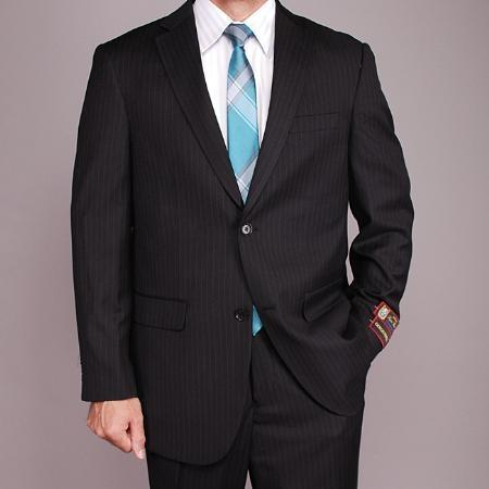 Mens Liquid Jet Black Pinstripe 2-button Suit, act now only $149.00