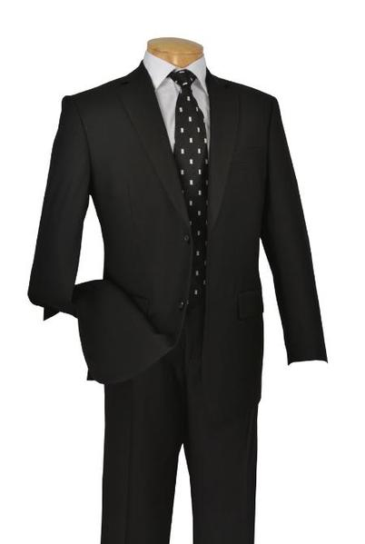 Mens Liquid Jet Black Poly Rayon Two Button Suit, act now only $109.00
