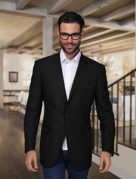 Mens Liquid Jet Black Summer Linen Online Sale Light Weight Blazer, act now only $175.00