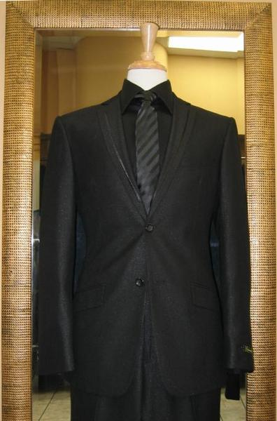Mens Liquid Jet Black Two Button Slim Narrow Fit Suit, act now only $165.00