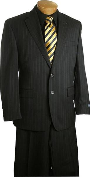 Mens Liquid Jet Black Two Button Style Pinstripe Suit, act now only $149.00