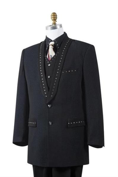 Mens Liquid Jet Black Two Button Style Suit, act now only $175.00