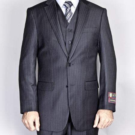 Mens Liquid Jet Black Two Button Style Suit, act now only $165.00