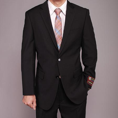 Mens Liquid Jet Black Two Button Style Suit, act now only $139.00
