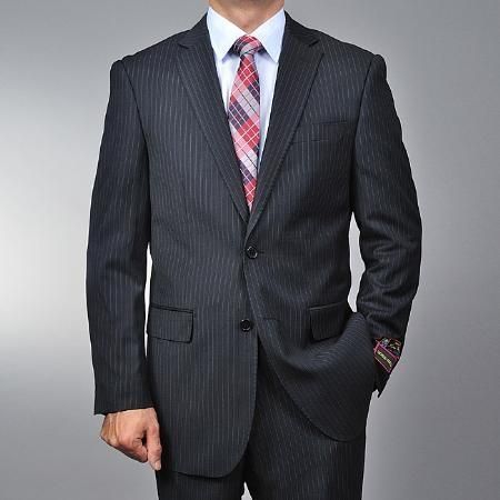 Mens Liquid Jet Black Two Button Style Suit, act now only $135.00