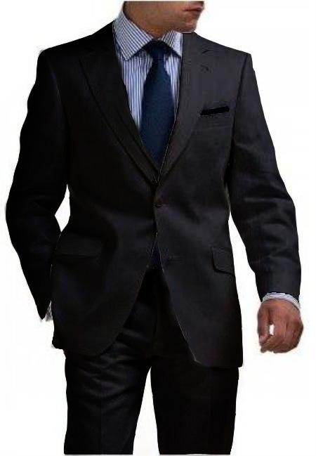 Mens Liquid Jet Black Two Button Style Tapered Cut Half Lined Flat Front Linen Suit, act now only $180.00