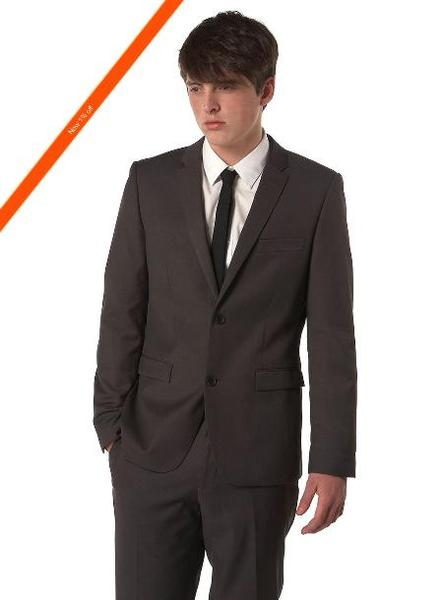 Mens Liquid Jet Black Two Button Ultra Slim Suit, act now only $139.00