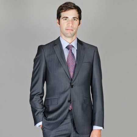 Mens Liquid Jet Black Two Button Wool Suit, act now only $165.00