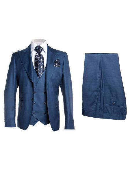 Mens Med Blue Two Button Style Single Breasted Suit, act now only $175.00