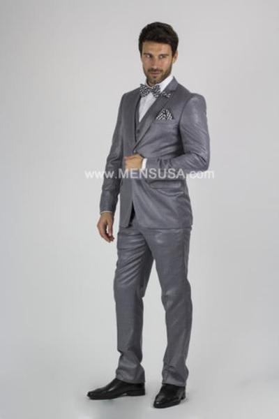 Mens Medium Grey Two Button Style Notch Lapel Suit, act now only $149.00