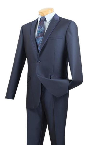 Mens Midnight Blue Two Button Peak Lapel Tuxedo Trimmed Formal wear Suit, act now only $175.00