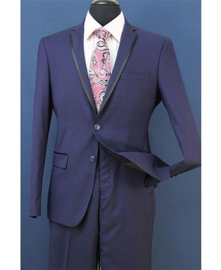 Mens Midnight Blue Two Toned Trim Lapel Suit, act now only $199.00