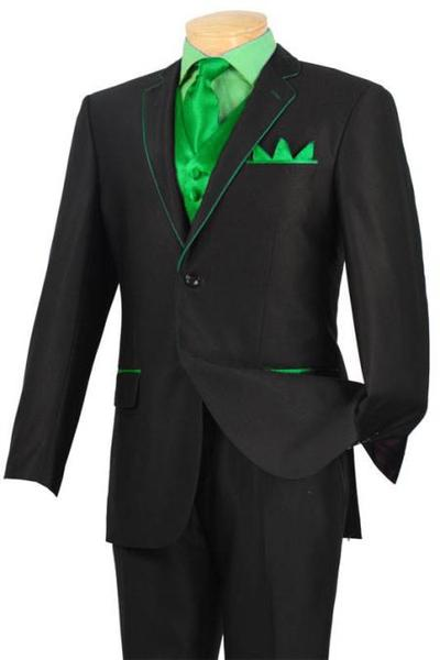 Mens mint Green Trim Microfiber Two Button Notch Tuxedo, act now only $585.00