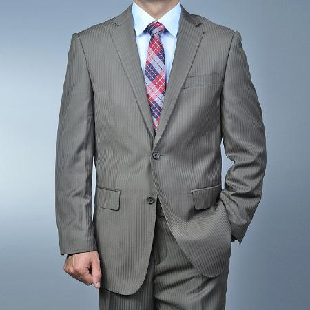 Mens Mocha Shadow Pinstripe 2-button Suit (CHECK COLOR), act now only $139.00