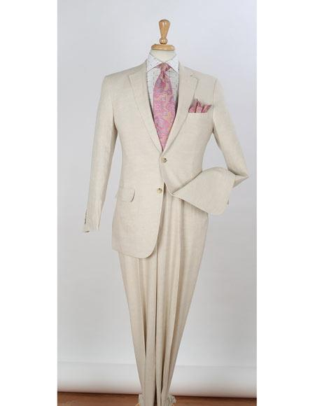 Mens Natural Two Button Style Single Breasted Notch Lapel Side Vent Linen Suit, act now only $156.00