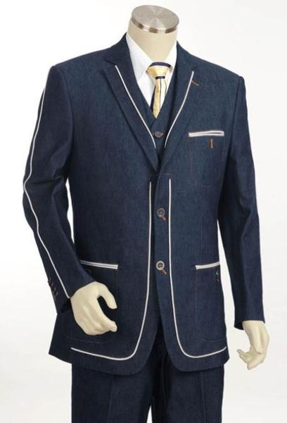 Mens Navy 2 Button Style 3pc Fashion Denim Cotton Fabric Suit, act now only $175.00