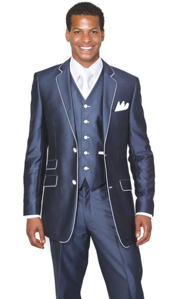 Mens Navy 3 Piece Single Breasted Church Suit, act now only $139.00