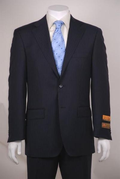 Mens Navy Blue Shade Stripe Two Button Style Vented Suit, act now only $135.00