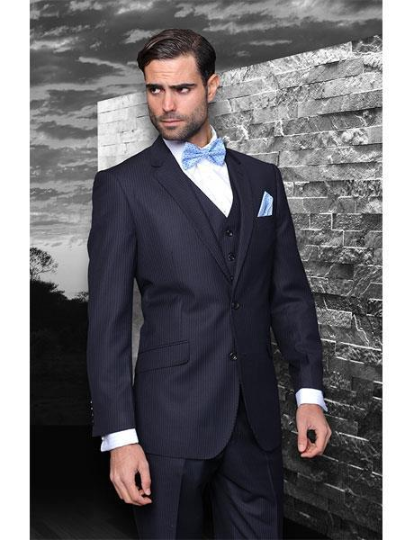 Mens Navy Blue Shade Superior Fabric 150's Extra Fine Pinstripe Suit, act now only $175.00