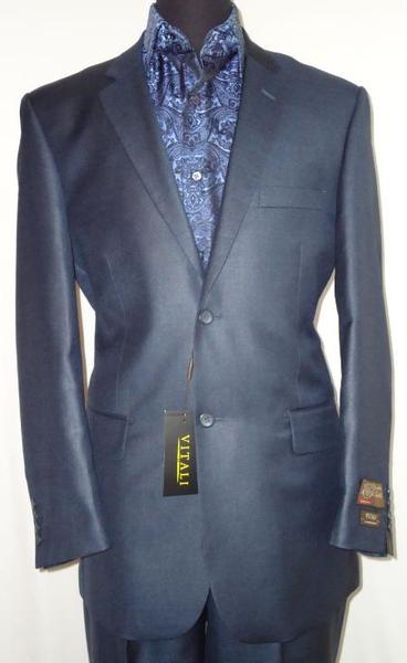 Mens Navy Blue Shade Two Button Sharkskin Suit, act now only $189.00
