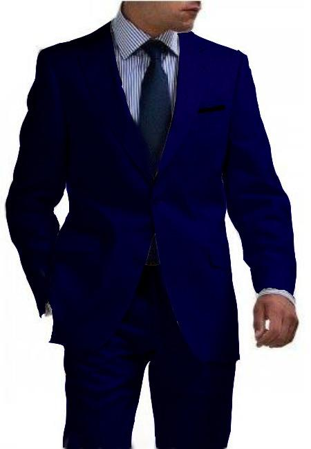 Mens Navy Blue Shade Two Button Style Tapered Cut Half Front Linen Suit, act now only $180.00