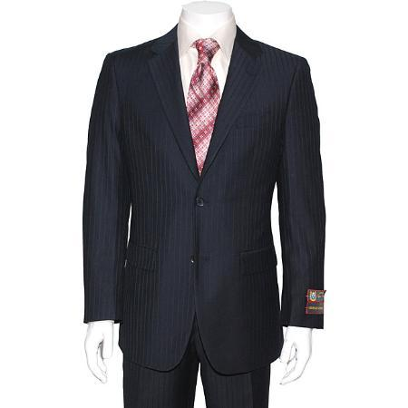 Mens Navy Blue Two Button Style Pinstripe Suit, act now only $139.00
