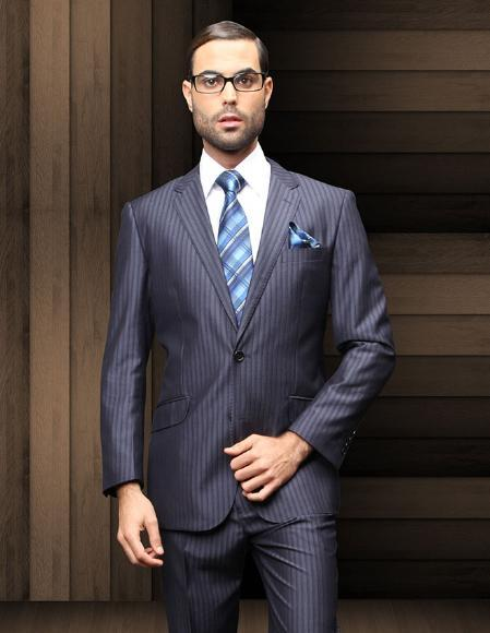 Mens Navy Blue Two Button Style Pinstripe Suit, act now only $199.00