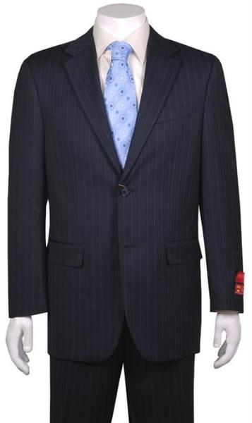 Mens Navy Blue Two Button Style Pinstripe Suit, act now only $160.00