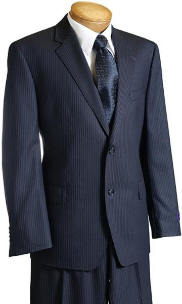 Mens Navy Pinstripe Wool Fabric Italian Design Suit, act now only $199.00