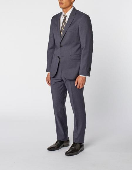 Mens Navy Single Breasted Notch Lapel Casual Wool Double Vent Two Piece Suit, act now only $299.00