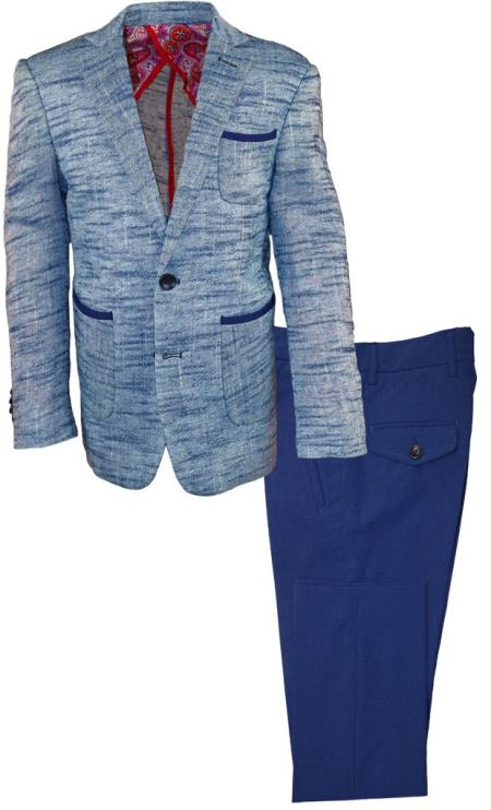 Mens Navy Single Breasted Notch Lapel Linen Suit, act now only $120.00