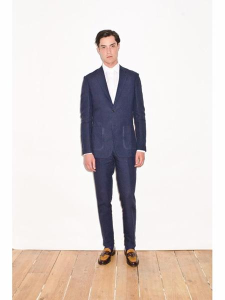 Mens Navy Single Breasted Notch Lapel Linen Suit, act now only $199.00