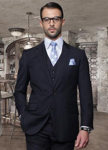 Mens Navy Slim narrow Style Fitted Flat Front Pants Wool Fabric Suit, act now only $165.00