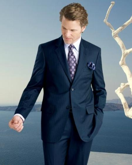 Mens Navy Stripe Two Button Style Suit, act now only $199.00