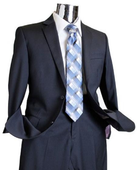 Mens Navy Tone on Tone 100% Wool Fabric Suit, act now only $189.00