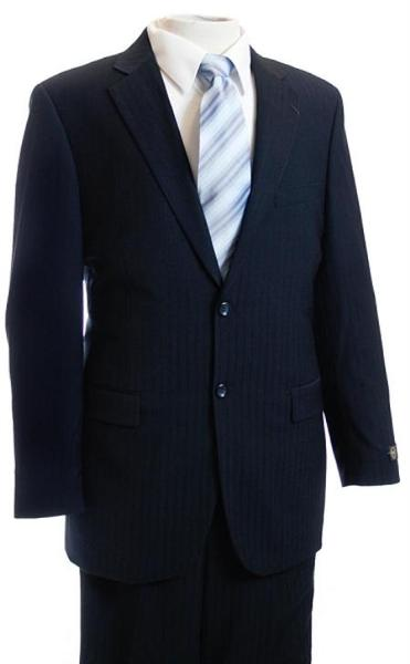 Mens Navy Two Button Pinstripe Affordable Suit, act now only $139.00