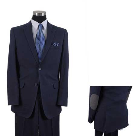 Mens Navy Two Button Style Elbow Patch Linen Summer Suit, act now only $139.00
