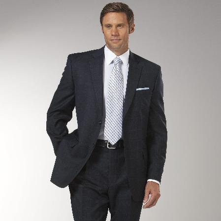 Mens Navy Two Button Style Slim Narrow Fit Suit, act now only $185.00
