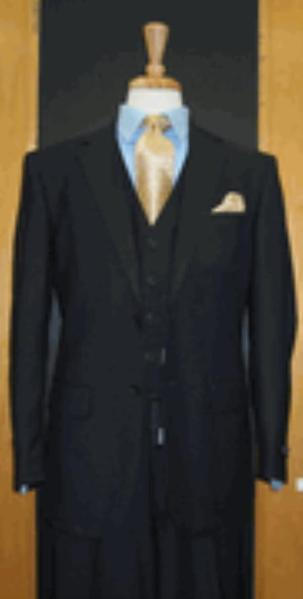 Mens Navy Two Button Style Three Piece Suit, act now only $165.00