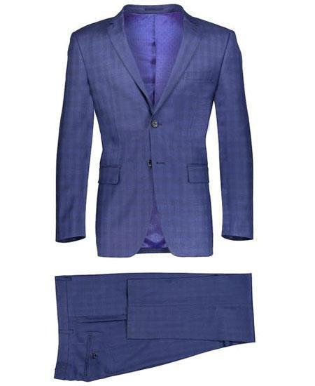 Mens Navy Two Button Style Window Pane Suit, act now only $149.00