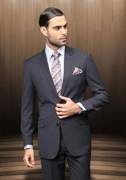Mens Navy Two Button TZ_Ber Pick Stitch Collar Suit, act now only $199.00