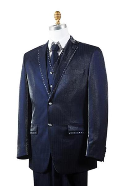 Mens Navy Unique 2 Button Style Tuxedo Trimmed Pleated Slacks Pants, act now only $175.00