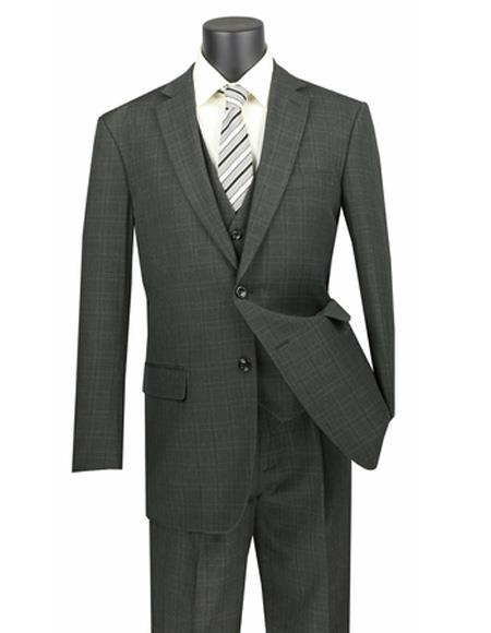 Mens Olive Two Button Style WIndowpane Suit, act now only $199.00