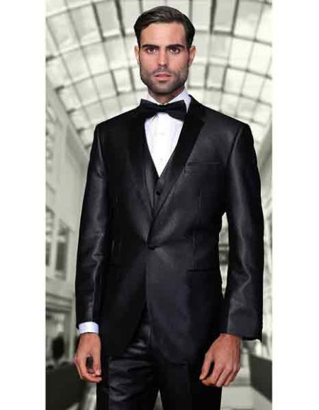 Mens One Button Liquid Jet Black Suit, act now only $210.00