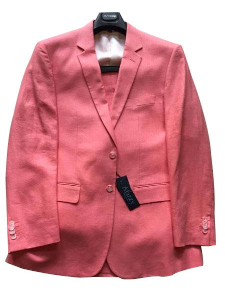 Mens Peach Single Breasted Two Buttons Linen Modern Fit lined suit, act now only $189.00