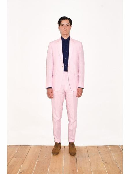 Mens Pink Single Breasted Notch Lapel Linen Suit, act now only $199.00